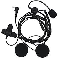 AOER 2 Pin Open/Half Face Motorcycle Bike Helmet Earpiece Headset Mic Compatible for Two Way Radio Walkie Talkie Kenwood Baofeng Wouxun Tyt Puxing.