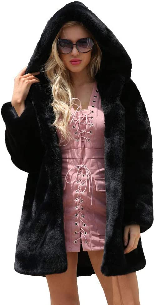 Kirbaez Women Winter Warm Long Coat Jacket Fake Fur Collar Hooded Parka Outwear