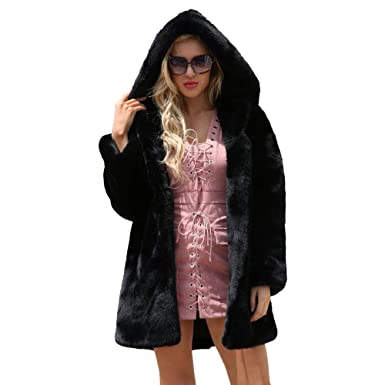 fa2c31c9dca ZOMUSAR Womens Winter Warm Leopard Print Faux Fur Coat Jacket Long Hooded  Parka Outerwear (Black