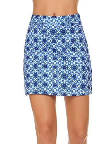 Ekouaer Women Double Layer Skorts with Underneath Short Running Golf Tennis Gym Skirts Mesh Pockets ()