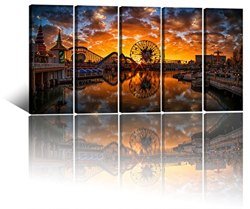 Large Canvas Art Prints,Disney Castle Mickey Ferris Wheel Reflected in The Lake Prints On Canvas Picture Amusement Park Dusk Scenery Wall Art Painting for Living Room Modern Decor for Gifts 60x32