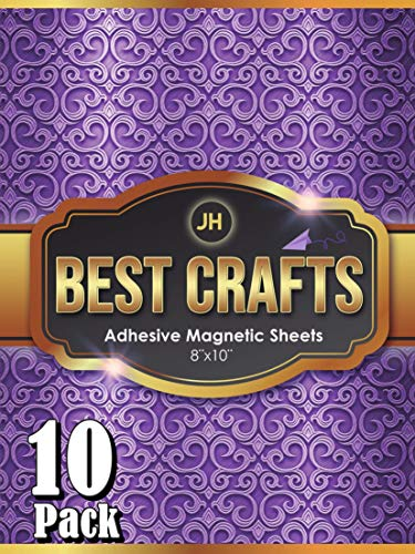 JH Best Crafts Adhesive Magnetic Sheets | Flexible Magnet with Adhesive Backing | 8 x 10 Inch Magnets for Crafts and Pictures | Cut to Any Size | Pack of 10