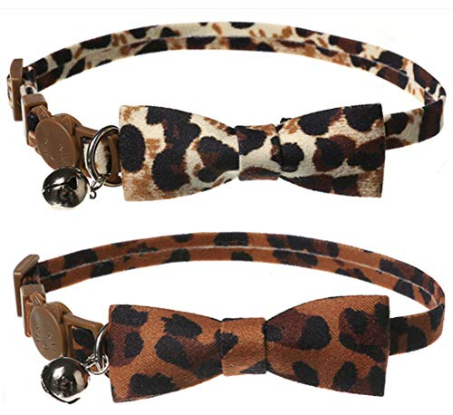 Upaw Cat Breakaway Collar with Bowtie & Bell Pack of 2