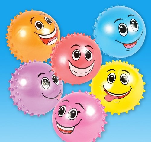 DollarItemDirect 4'' Funny FACE KNOBBY Balls, Case of 9