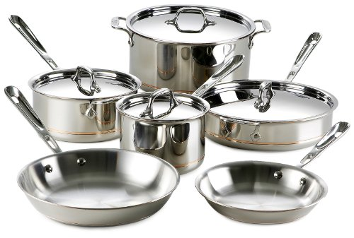 All-Clad 600822 SS Copper Core 5-Ply Bonded Dishwasher Safe Cookware Set, 10-Piece, Silver