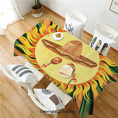 Mexican Decorations Rectangle Polyester Tablecloth,Ethnic Hat and Maracas in The Centre of Sun Figure Hippie Style Boho Home,Dining Room Kitchen Rectangle Table Cover,60W X 120L inches,Multi