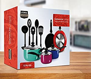 13-Pieces Kitchen Cookware Set - Colored Pots and Pans Set with Cooking Utensils - Even Heat Distribution, Double Nonstick Coating - Multipurpose Use for Home Kitchen or Restaurant - by Utopia Kitchen