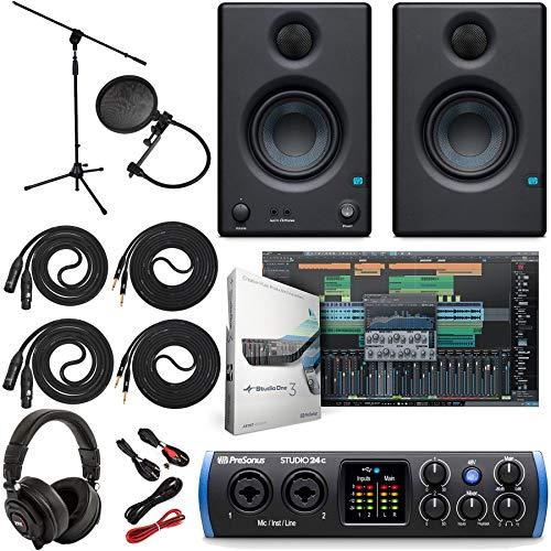 PreSonus Studio 24c 2x2 USB Type-C Audio/MIDI Interface w/Eris 3.5 Pair Studio Monitors and 1/4