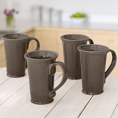 Member's Mark 4-Pack Hand-Glazed 18 oz Stoneware Tuscan Mugs, Stone