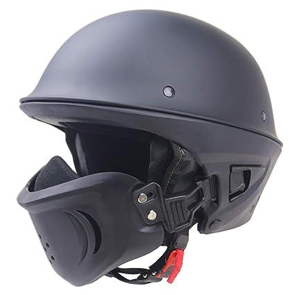 DLD Casco de la Motocicleta, Medio Casco Retro para Adultos con máscara Desmontable Casco de
