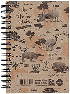 RHINO SRSE3-6 A6 Recycled Save the Rhino Notebook