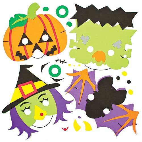 Halloween Foam Mask Kits for Children - Halloween & Fancy Dress Party Costumes & Accessories for Children (Pack of 4)