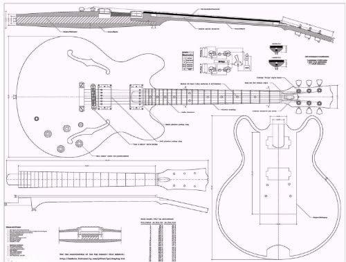 Gibson ES335 Planes de guitarra de Jazz – Full báscula – cómo para ...