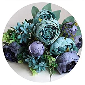 shine-hearty 7-12 Heads/Bouquet Large Artificial Peony Artificial Flowers Roses Flores Silk Flower for Wedding Home Decoration Mariage,Blue 74