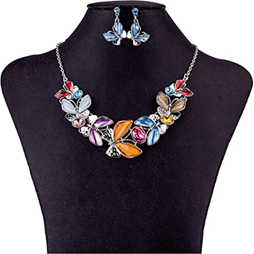 ZHENFSH Fashion Jewelry Sets Necklace Sets for Women Jewelry Multicolored Crystal Butterfly Party Gift MS1504736