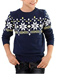 MFrannie Boys Symmetrical Argyle Plaid Star Crew Neck Knit Sweater