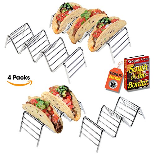 Premium Quality Stainless Steel Taco Holder Stand - Taco Rack - Taco Truck Tray Hold Up To 14 Soft or Hard Taco Shells - Dishwasher, Oven Safe For Baking or -