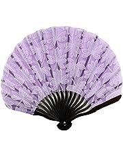 Summer Summer Fan Hand Held Fan Folding Fan Gift for Girls, Purple,A1