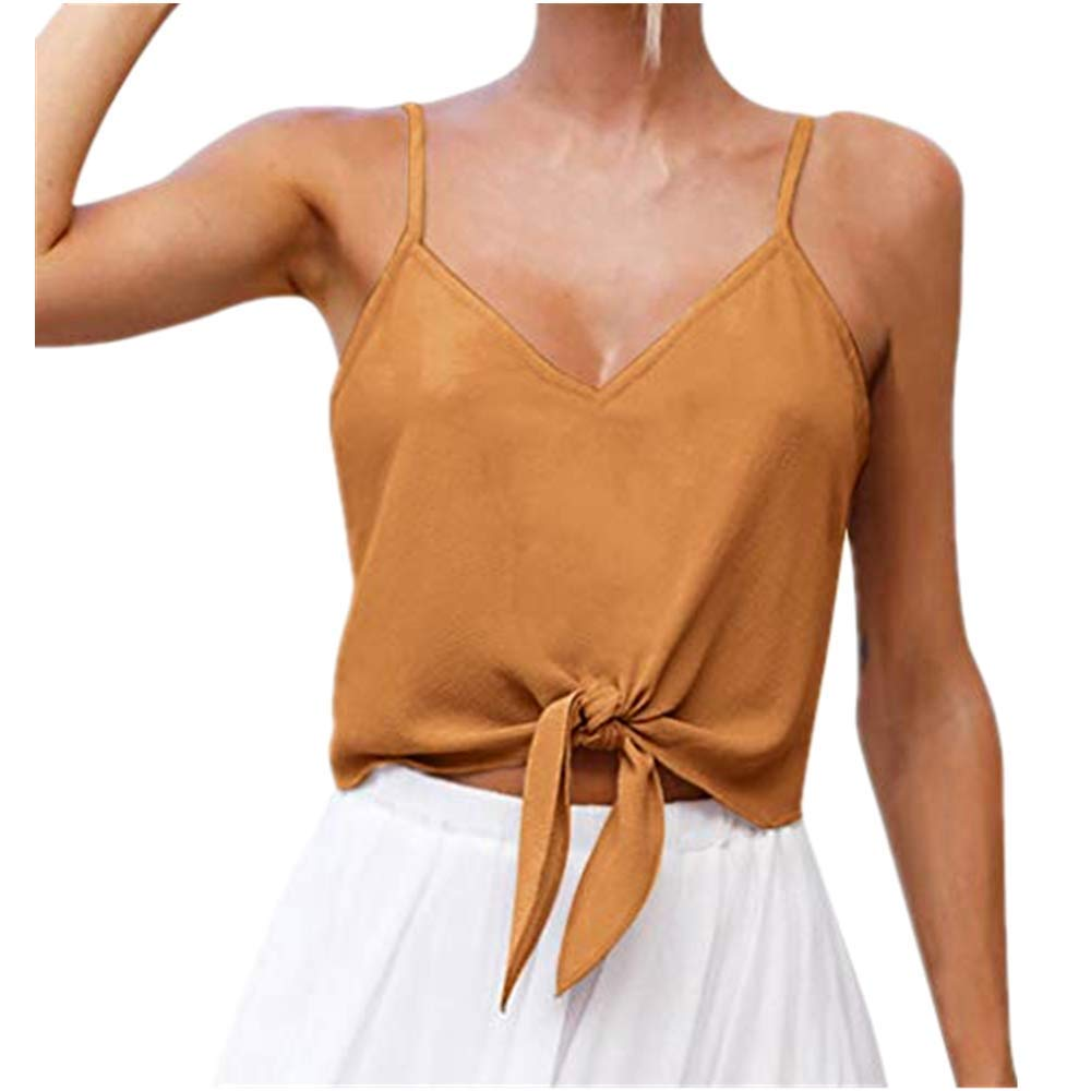 NUWFOR Women's Summer Casual Solid Sleeveless Design Shirt Tank Top Blouse(Yellow,US S Bust:31.5-33.1'')