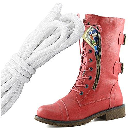 Dailyshoes Donna Militare Allacciatura Fibbia Da Combattimento Stivali Metà Ginocchio Alta Tasca Esclusiva Per Carte Di Credito, Bianco Nero Elegante Rosso