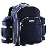 Cabin Max️ IceMax Picnic Backpack - Comes Complete with Cutlery Set, Picnic Blanket, Cooler Bag Interior and Side Bottle Cooler Bag - Complete Picnic Set for 6 People (Navy)