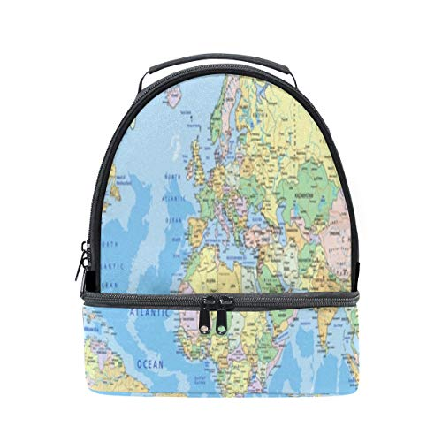 Bento Lunch Insulated Old Color World Map Pattern Roomy Double Layer Handbags Kids School Roomy Bento Lunch Box Train For Girls Case With Shoulder Strap