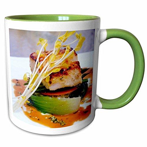3dRose Danita Delimont - Cuisines - Grouper cuisine, Boca Raton Resort, Florida - US10 GJO0224 - Greg Johnston - 11oz Two-Tone Green Mug - Outlet Raton Boca