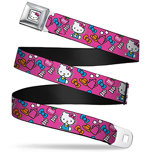 Buckle-Down Seatbelt Belt - Hello Kitty Sitting Poses/Bows/Coffee/Shakers Pink/Orange/Blue - 1.0