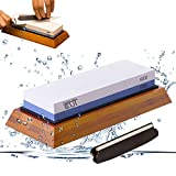 Premium Knife Sharpening Stone kit 2 Side Whetstone Set 1000/6000 Grit Sharpening & Honing Waterstone Best Sharpener for Chefs & Kitchen Knife Anti-slip Stone Holder Base & Angle Guider Free Bonus