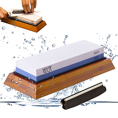 Premium Knife Sharpening Stone kit 2 Side Whetstone Set 1000/6000 Grit Sharpening & Honing Waterstone Best Sharpener for Chefs & Kitchen Knife Anti-slip Stone Holder Base & Angle Guider Free Bonus (Kit Whetstone Sharpening)