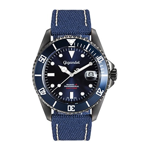 Gigandet Men's Automatic Diver Watch Sea Ground Analog Stainless Steel Leather/Textil 30atm Blue G2-022