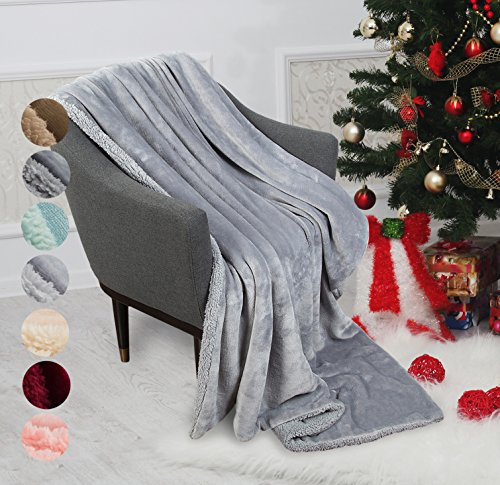 Catalonia Sherpa Throw Blanket Reversible Match Color Super Soft Comfy Fuzzy Micro Plush Fleece Snuggle Blanket All Season for TV Bed or Couch 50
