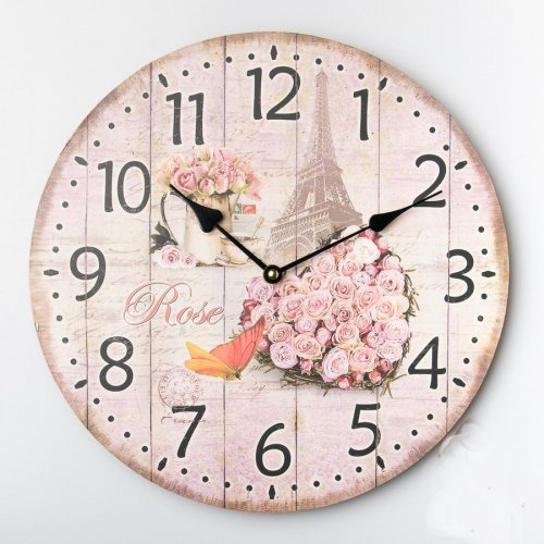 Pink Faded 13 inch wall clock, shabby chic, beautiful french decor with Eiffel tower design