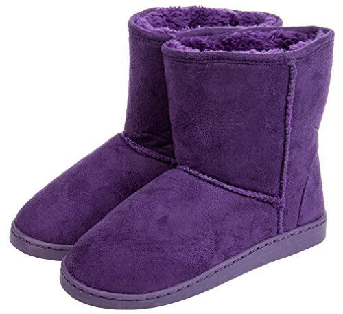 MIXIN Women's Indoor Outdoor Cute Style Slip on Non- Skid Faux Suede Ankle Slipper Boots Purple 5 M US - Suede & Faux Fur Boot