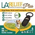 Flea and Tick Control Collar Clip & Mosquito Repellent by La Relief: Includes 4 Refills. All Natural, Therapeutic Grade Essential Oils and DEET-FREE, Safe for ALL Pets. by Glantu