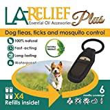Dog Flea Treatment Collar - Flea and Tick Control Collar Clip & Mosquito Repellent by La Relief: Includes 4 Refills. All Natural, Therapeutic Grade Essential Oils and DEET-FREE, Safe for ALL Pets.