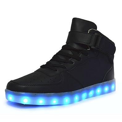 BININBOX Bininbox Lovers Unisex USB Charging LED 7 Colors Lights Shoes Flashing Sneaker Black UK Sale