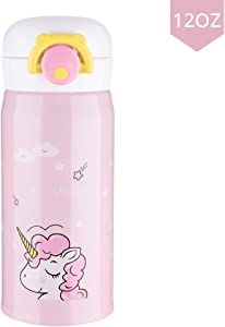 Kids Water Bottle Thermoses, Unicorn Stainless Steel Insulated Leak Proof Vacuum Cup for School Kids Girls Indoor Outdoor Sports (Pink 12oz)