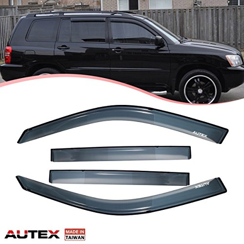 AUTEX 4 Pcs Tape On Window Visor Fits for 2001 2002 2003 2004 2005 2006 2007 Toyota Highlander Window Deflector Visor Sun Rain Shade Wind Guard Made in Taiwan