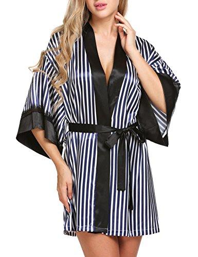 e Printed Satin Short Kimono Bridesmaids Lingerie Robes (Navy, Small? (Stripe Kimono Robe)