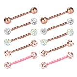 JFORYOU Barbell Ring 14G 316L Stainless Steel Cubic Zirconia Tongue Rings Body Piercing, 16mm Rose Gold