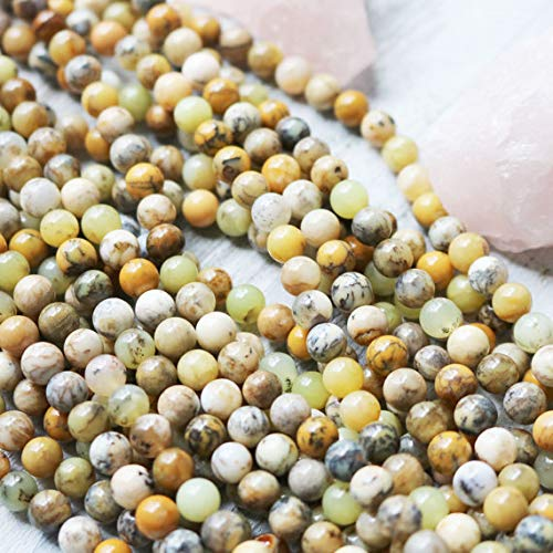 JP_BEADS Yellow Moss Agate, 6mm Beads, Moss Agate, 6mm Yellow Beads, 6mm Moss Agate, Round Beads, Round Yellow Beads, Yellow Agate, Agate Beads (Yellow Moss Agate)