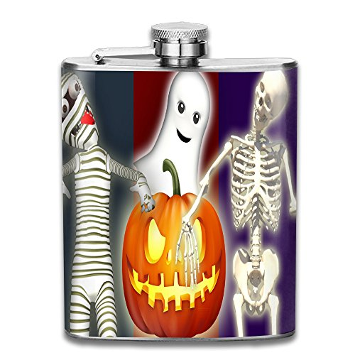 DeckerMO Novelty Halloween Ghost Skeleton Pumpkin Pocket Hip-flask Portable Flagon Drinking Whiskey Liquor Gift 304 Stainless Steel 70Z