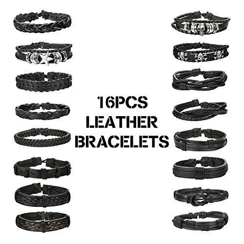 (Finrezio 16 PCS Black Braided Leather Bracelets Set for Men Punk Wrap Cuff Bracelet Adjustable)