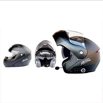 GWJ Cascos De Moto Modulares Bluetooth + FM Dot Flip Up Cascos De Turismo Incorporado De