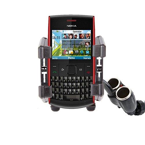 DURAGADGET Non-Shake/Anti-Shake Cigarette Lighter Mounted Phone Holder/Mount - Compatible with Nokia X2 Dual SIM