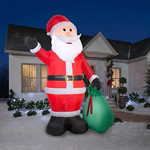 Christmas Inflatable Giant 12' Waving Santa w/ Gift Sack Airblown Holiday Decoration By (Nylon Giant Inflatable)