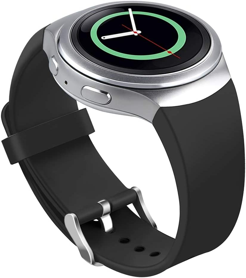 Bands Compatible Samsung Gear S2 Watch, NaHai Soft Silicone Replacement Sport Strap Wristbands Samsung Gear S2 Smart Watch, SM R720SM R730 (Black)