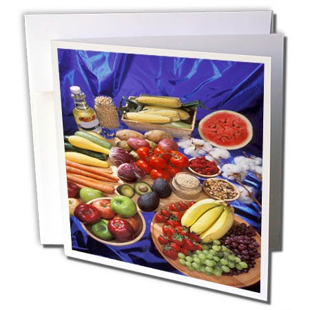 3dRose TDSwhite – Farm and Food - Food Healthy Assortment - 6 Greeting Cards with Envelopes (gc_285148_1) by 3dRose