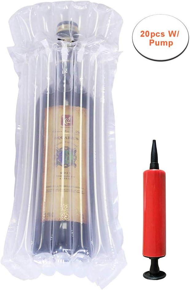 Protector de la botella de vino Burbuja Cojín Envoltura Mangas de vidrio para equipaje/Avión Viajes/Transporte aéreo/Seguridad, Bolsas inflables llenas de aire con bomba reutilizable, 20PCS
